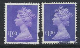 Great Britain SG Y1743 SC# MH279 Machin £1 Used x2  Bluish Violet see phosph...