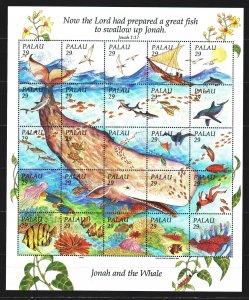 Palau. 1993. ml 661-85. Fauna of the sea, fish, whales, sailboat. MNH.