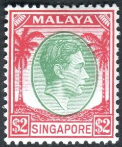 SINGAPORE-1948 $2 Green & Scarlet Perf 14.  A lightly mounted mint example Sg 14