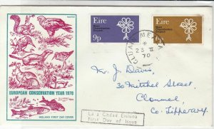 Ireland 1970 European Conservation Year Animal Illust. Stamps FDC Cover Rf 34792