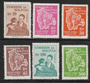 BOLIVIA  C176-C181   MNH  MAP AND PEASANT SET 1954