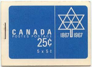 Canada USC #BK55 5c Blue Centennial Pane of 5 in Complete Booklet