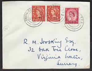 GB 1958 cover CREWE - CARDIFF TPO railway cancel...........................57383