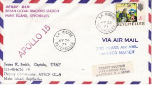 Indian Ocean Seychelles 1971 APOLLO-!5 Cover Tracking Station Corner Card Cancel