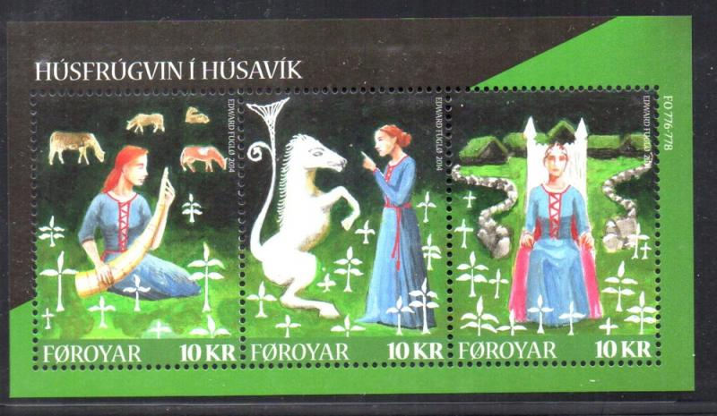 Faroe Islands Sc 617 2014  Lady of Husavik stamp sheet mint NH