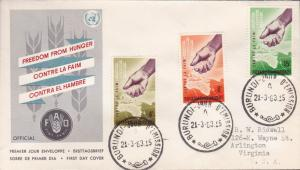 Burundi 1963 Scott 42-44 (3) Food Agricultural Org Freedom From Hunger FDC