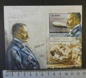 St Thomas 2013 ferdinand von zeppelin disasters hindenburg transport s/sheet