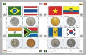 United Nations 930 Flags and Coins m/s MNH
