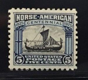 US #621 MLHOG VF - Norse American Centennial 5c SCV $20