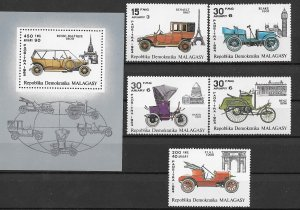 Malagasy MNH S/S & 5 Stamps Antique Vehicles