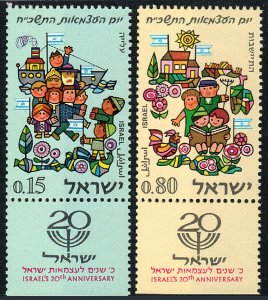 Israel 362-363 tabs, MNH. Welcoming Immigrants, Happy Farm Family, 1968