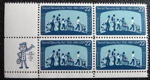 US #2153 MNH Zip Block of 4, Social Securtiy, SCV $1.90 L10