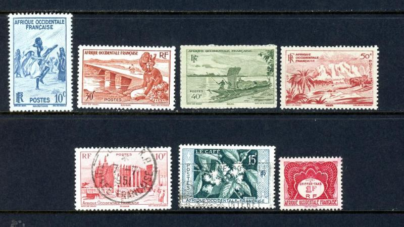 French West Africa Lot 7 Stamps Mixed