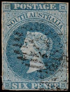 South Australia Scott 8 (1857) Used F-VF, CV $200.00 M
