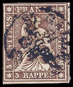 Switzerland 1858 Sc 36 Zu 22G uf 2011 SCV is $21.50