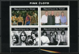 Chad Music Stamps 2019 MNH Pink Floyd Famous Musicians People 4v M/S II