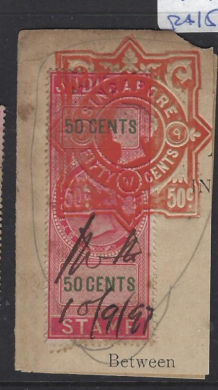MALAYA STRAITS SETTLEMENTS (P1109B) QV JUDICIAL RED REVENUE 50C+ EMBOSSED  VFU