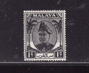Malaya Selangor-Sc #80-unused,hinged-1c black-1949-