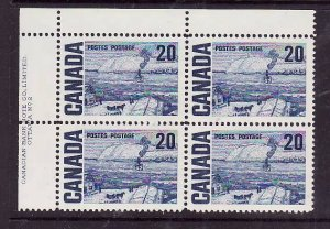 Canada-Sc#464-Unused NH 20c The Ferry Centennial-UL plate block #2-PVA gum-1972-