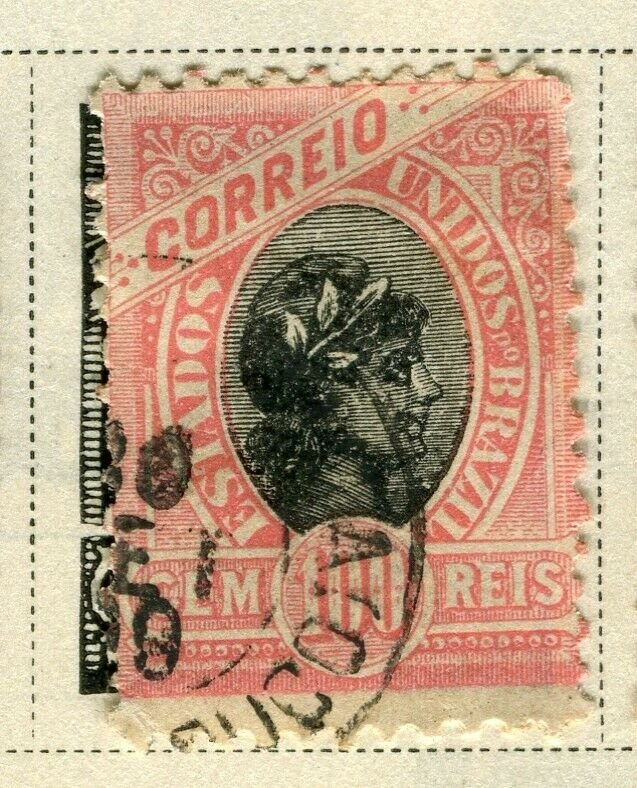 BRAZIL; 1894 early classic issue fine used 100r. value