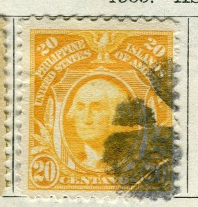 PHILIPPINES; 1909 early Portrait series issue used 20c. value