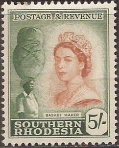 Southern Rhodesia - 1953 5s Queen Elizabeth & Basket Maker - Stamp MH #92