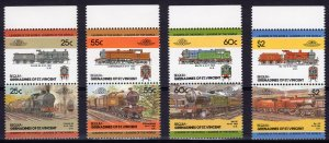 Bequia-St.Vincent Grenadines 1985  LOCOMOTIVES 4th.series (4 pairs) MNH