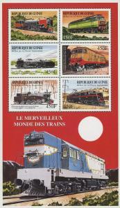 Guinea Wonderful World of Trains Locomotives Souvenir Sheet of 6 Stamps Mint NH