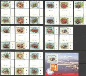 Solomon Islands Sc# 733-746a MNH Gutter Pairs & Souvenir Sheet 1993 Crabs