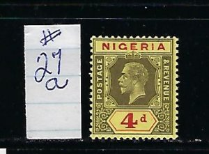 NIGERIA SCOTT#27A 1921-23 GEORGE V 4P (BLACK/RED)   (DIE I)- MINT LIGHT HINGED