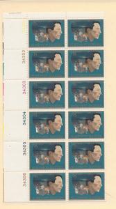 United States, 1485, Robinson Jeffers Plate Block(12), MNH