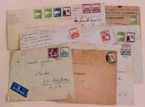 PALESTINE JERUSALEM WITH 9 DIFF. STAMPS on 9 SMALL COVERS