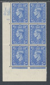 Great Britain Sc 239 MLH. 1937 2½p KGVI, L/42 Cylinder Block of 6, VF