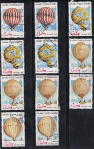 CUBA SC# 2576+77+78+80  **USED** 1983   HOT AIR BALLOONS  SEE SCAN