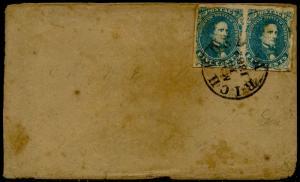 CSA #4 PAIR ON COVER RICHMOND, VA TO LAWRENCE, GA MAY 16,1862 CV $450 BQ3602