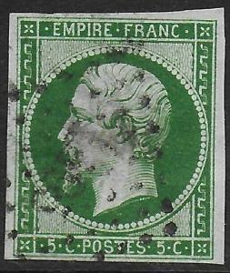 France 1853-60 Napoleon 5c Dark Green/Green #13a Fine Used, thinned CV $160.00