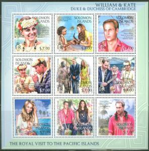 SOLOMON ISLANDS 2013 DUKES OF CAMBRIDGE WILLIAM AND KATE SHEET OF 9 I