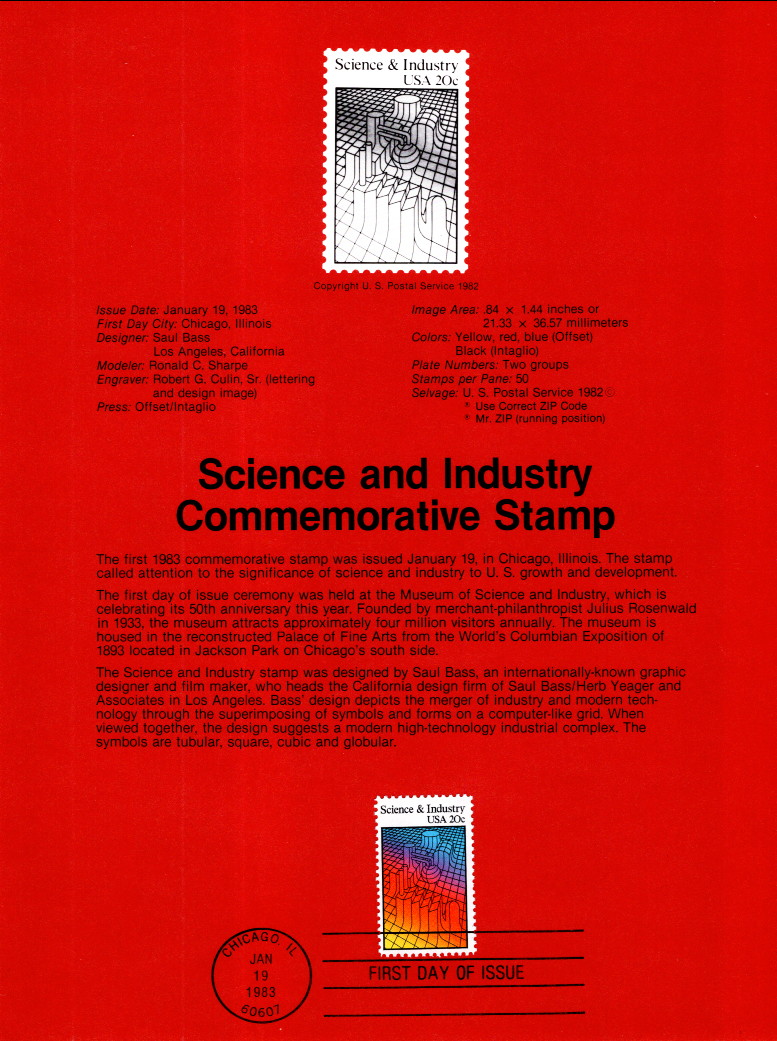 US SP606 Science and Industry 2031 Souvenir Page FDC / HipStamp