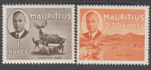MAURITIUS 1950 KGVI PICTORIAL 1R AND 2R50 MNH **