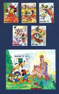 BHUTAN - #516-521 - VF MNH set & S/S - Disney Tramp Abroad - 1986 -- two scans