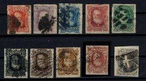 [P01] BRAZIL/1877, Emperor Pedro II Complete Set, Used, Michel No: 38/47 (260€)