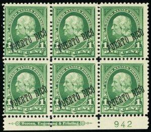 Puerto Rico #215, Mint NH RARE Plate Block of Six CV$ 175+ - Stuart Katz