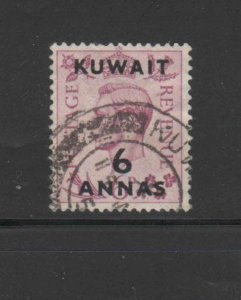 KUWAIT #78  1948  6a on 6p KING GEORGE VI SURCHARGED   F-VF  USED  c