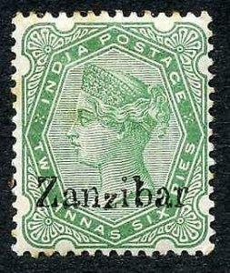 Zanzibar SG8 2 1/2a yellow-green Small second Z M/M (tone spots)