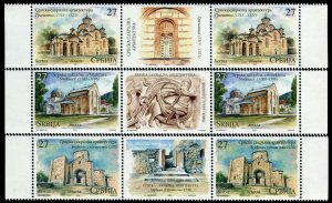1598 - Serbia 2021 - Serbian Sacral Architecture - Monastery - MNH Middle Row