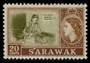 SARAWAK QEII SG196, 20c olive & brown, M MINT.