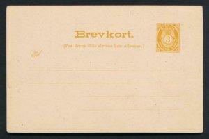 NORWAY Mi. P38 POSTAL STATIONERY POSTAL CARD 3o ORANGE BREVKORT NO BORDER