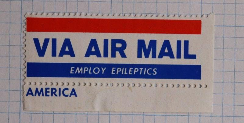 Via Airmail Etiquette Label seal charity employ epileptics epilepsy Mint OG MNH