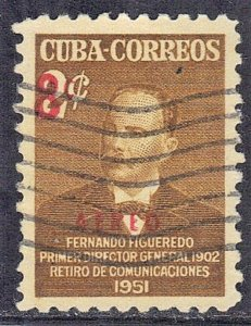 CUBA SC# C52  **USED** 1952  8c on 2c SURCHARGE   AIRMAIL  SEE SCAN