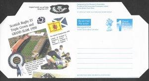Great Britain-Scotland  Aerogramme - Scottish Rugby 1990 (1) Mint